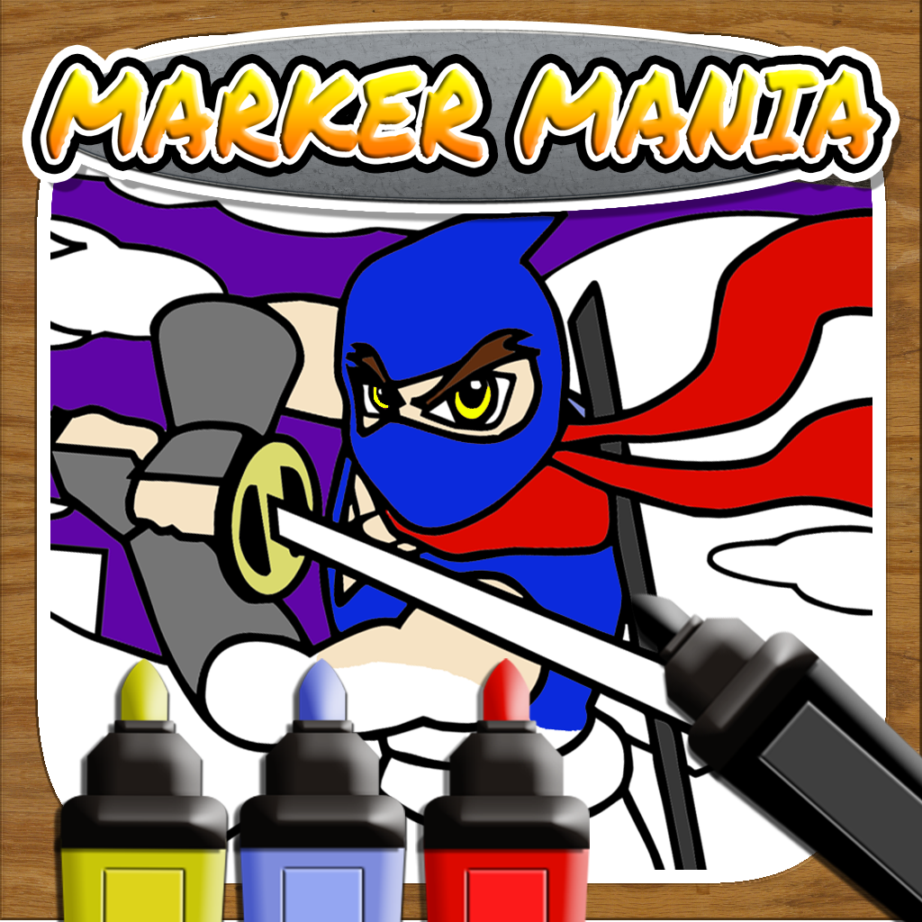 Marker Mania for Boys PRO: My Kids Doodle Ninja Hero Coloring Book